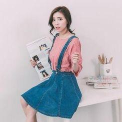 Lucky Leaf - Suspender Denim Skirt