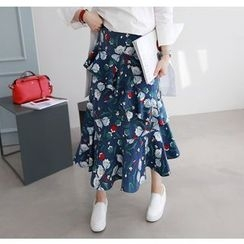 Miamasvin - Banded-Waist Floral-Pattern Maxi Skirt