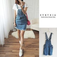 CYNTHIA - Frayed-Hem Denim Suspender Skirt
