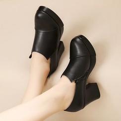 Hannah - 真皮粗跟鞋