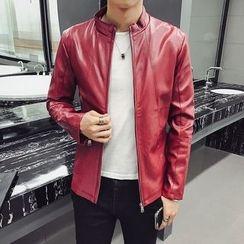 Jimboy - Stand Collar Faux Leather Jacket