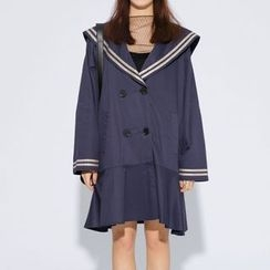 Heynew - Sailor Collar Double-Breasted Midi Dress