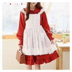 Sechuna - Ruffle-Trim Suspender Dress