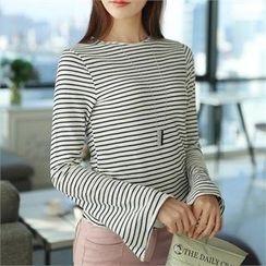 CHICFOX - Slit-Sleeve Striped T-Shirt
