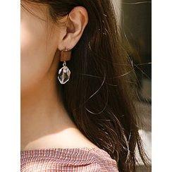 FROMBEGINNING - Rhinestone-Dangle Earrings