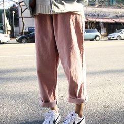 Dute - Elastic Waist Wide Leg Corduroy Pants