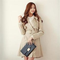 Cocoblanc - Flap-Accent Double-Breasted Trench Coat