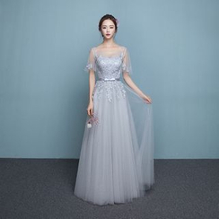 P-BRIDE - Cape-Sleeve Lace Evening Gown