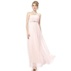 Ever Pretty - Embellished Strapless Sheath Chiffon Evening Gown