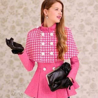 Dabuwawa - Peplum Jacket with Houndstooth Double-Breasted Cape