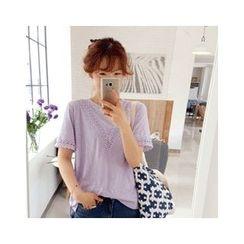 LEELIN - Round-Neck Lace-Trim T-Shirt