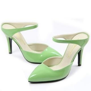 77Queen - Patent Pointy Mule Pumps