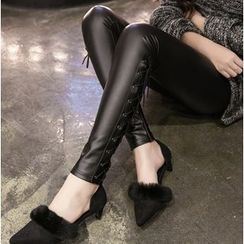 Clover Dream - Lace Up Side Faux Leather Leggings