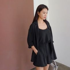 WITH IPUN - Set: Dual-Breasted Jacket + Camisole Top + Shorts