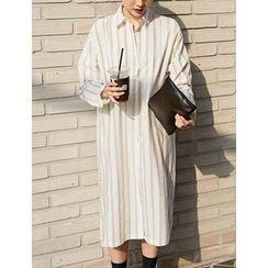 FROMBEGINNING - Striped Long Shirtdress