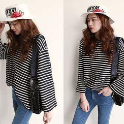 NIPONJJUYA - Wide-Sleeve Stripe T-Shirt