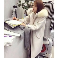 Mariposa - Furry Trim Hooded Woolen Jacket