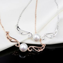 Zundiao - Sterling Silver Wing Necklace with Real Pearl