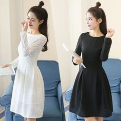 Mandalle - Striped Long Sleeve A-Line Dress