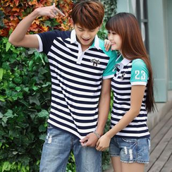 Igsoo - Couple Matching Striped Polo Shirt