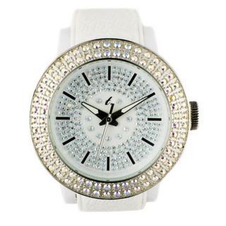 t. watch - Diamond Lens Glass White Strap Watch