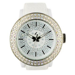 t. watch - Diamond Lens Glass White Strap Watch