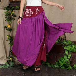 Diosa - Flower Print Layered Maxi Skirt