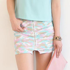 59 Seconds - Side-Zip Camouflage Pencil Skirt