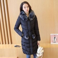Cobogarden - Furry Trim Hooded Long Padded Coat