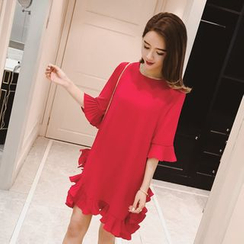 VIZZI - Elbow-Sleeve Frilled Dress
