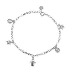 MaBelle - 14K/585 White Gold Angle, Balls and Stars Bracelet