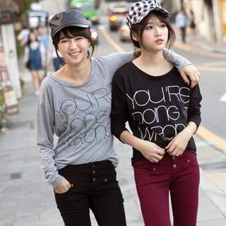 Tokyo Fashion - Long-Sleeve Round-Neck Printed T-Shirt