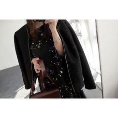 UPTOWNHOLIC - Zip-Up Wool Blend Coat