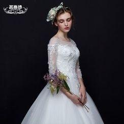MSSBridal - 3/4 Sleeve Wedding Ball Gown