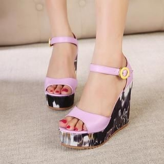 X Times - Ankle Strap Wedge Sandals