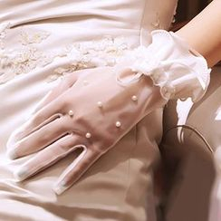 Neostar - Faux Pearl Embellished Wedding Gloves