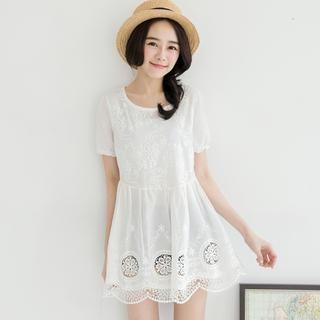 Tokyo Fashion - Short-Sleeve Embroidered Lace Tunic