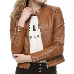 Neeya - Faux Leather Biker Jacket