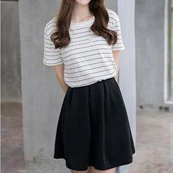 Hamoon - Set: Striped Knit Top + A-Line Skirt