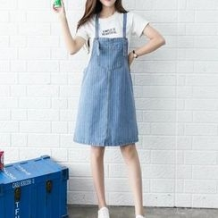 Neeya - Pinstriped Denim Pinafore Dress