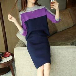 Weaverbird - Set: Color Block Sweater + Skirt