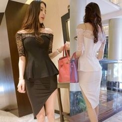 Myrii - Off-Shoulder Panel Peplum Dress