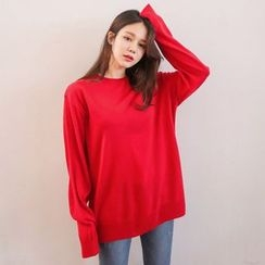 PPGIRL - Round-Neck Colored Knit Top