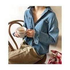 FROMBEGINNING - Dual-Pocket Denim Shirt