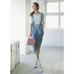 COII - Pinstripe Skirt with Suspenders