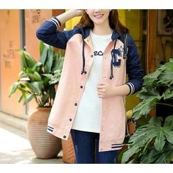 Dollisee - Hooded Long Baseball Jacket