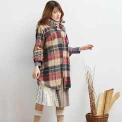 Blue Hat - Ruffled Plaid Buttoned Coat