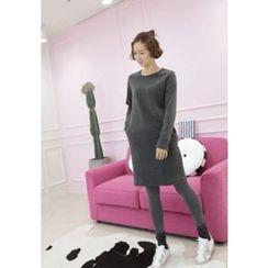 Lemite - Brushed-Fleece Shift Dress