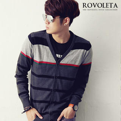 ROVOLETA Color-Block Striped Cardigan