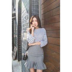 migunstyle - 3/4-Sleeve Striped Top